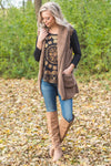 Outdoor Adventure Hooded Faux Fur Vest in Mocha - Filly Flair
