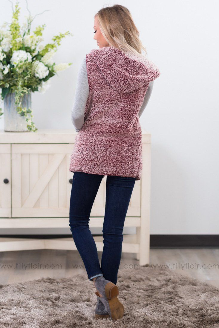 Forever in Love Hooded Sherpa Vest in Burgundy - Filly Flair