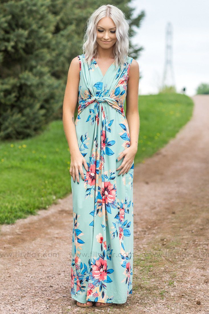 Where Love Begins Sleeveless Floral Knotted Maxi Dress In Sage - Filly Flair
