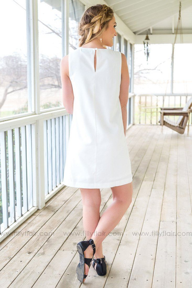 Sweet Sophistication Sleeveless Lace Dress In White - Filly Flair