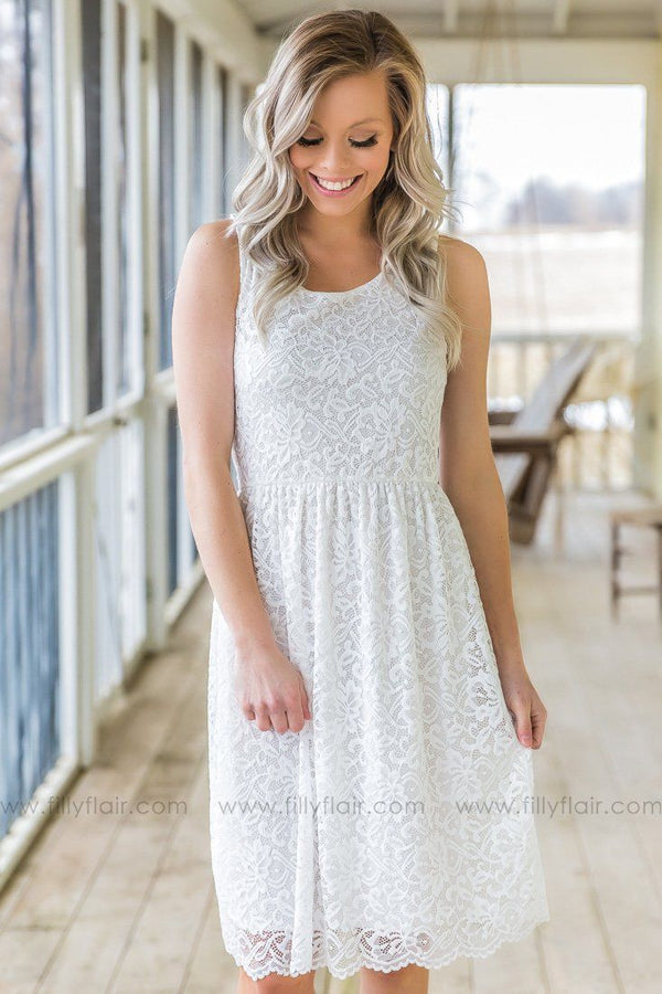 When We first Met Sleeveless Lace Dress In White