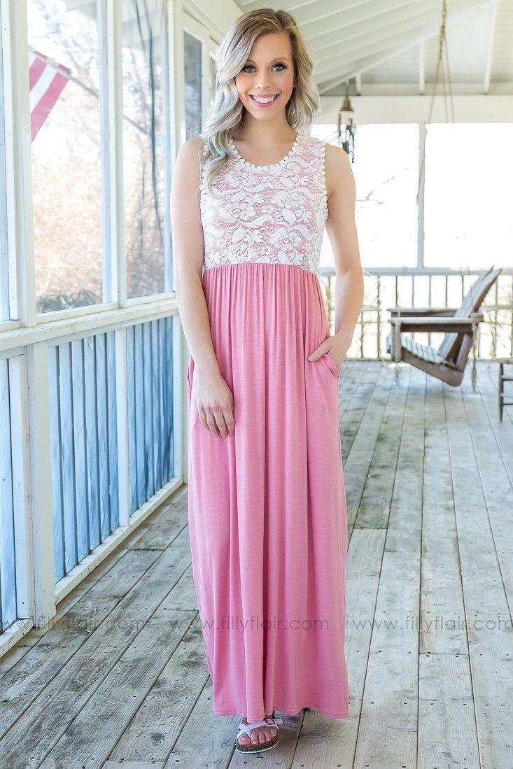 Treat Me Right Sleeveless Lace Maxi Dress In Pink - Filly Flair
