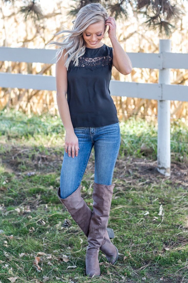 Feeling Pretty Lace Tank Top in Black - Filly Flair