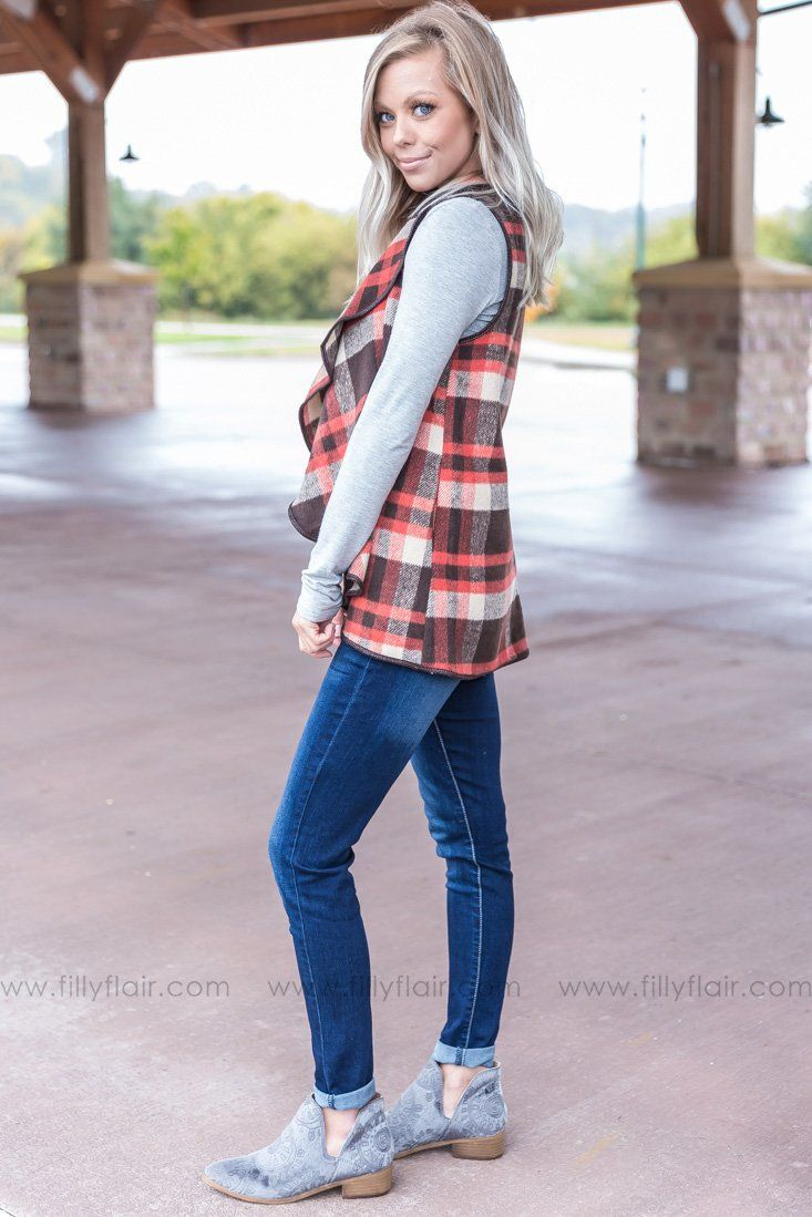 Join Together Plaid Waterfall Vest in Brown - Filly Flair