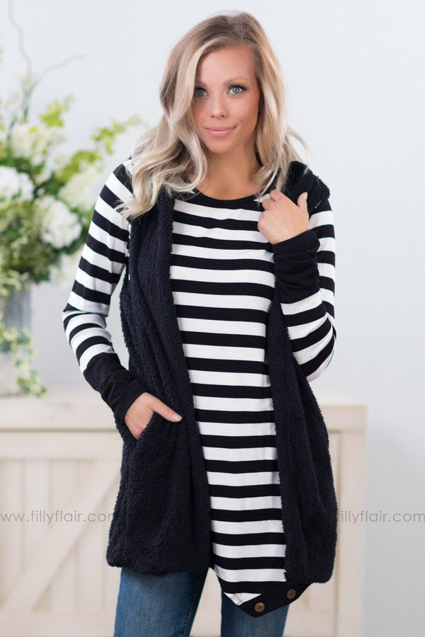 Warm Fuzzy Feeling Hooded Vest in Black - Filly Flair