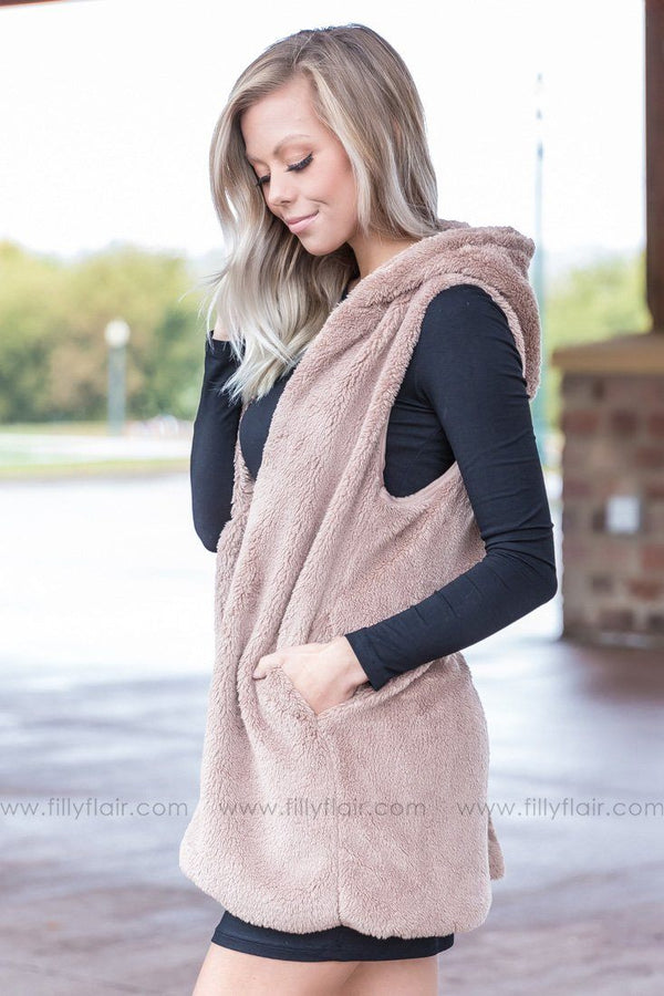 Warm Fuzzy Feeling Hooded Vest in Mocha - Filly Flair