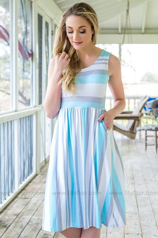 Want To Know You Sleeveless Striped Pocket Dress In Blue Grey
