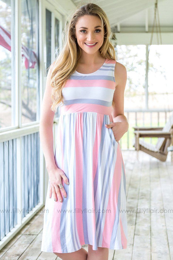 Want To Know You Sleeveless Striped Pocket Dress In Pink Grey