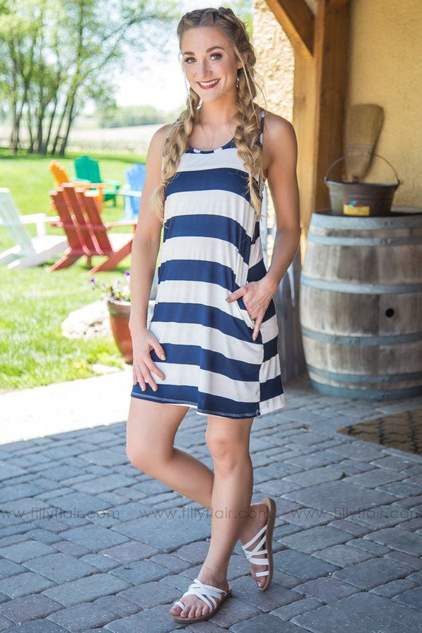 Star Tribute Racer Back Striped Bow Pocket Dress In Navy - Filly Flair