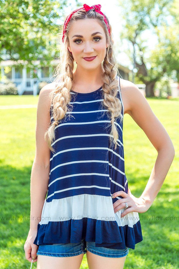 Most Of My Days Sleeveless Striped Ruffle Hem Top In Navy