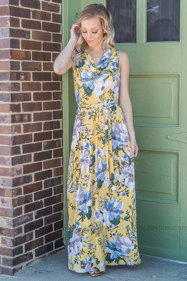 Walks Like Spring Floral Sleeveless Tie Maxi Dress In Yellow