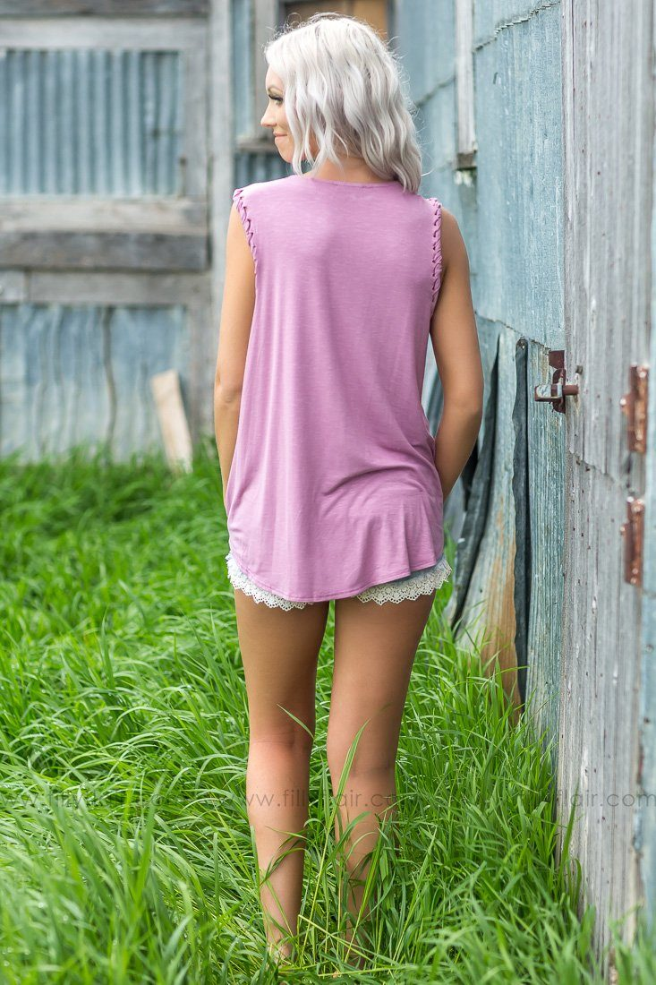 Just Moving On Sleeveless Lace Up Sleeve Top In Mauve - Filly Flair