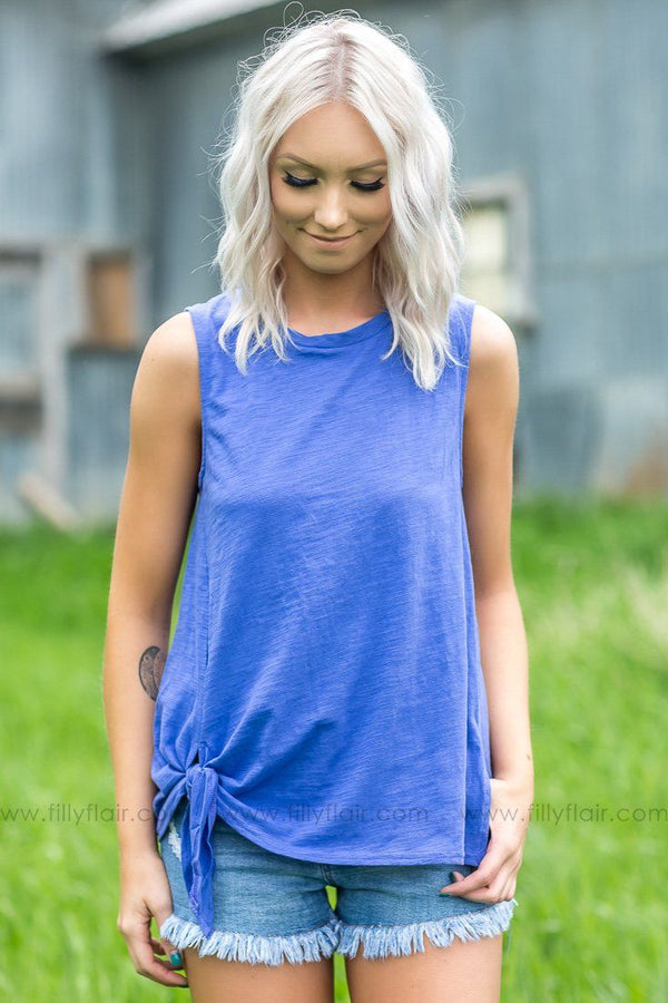 Feel Like I Know You Sleeveless Side Tie Top In Periwinkle
