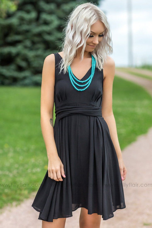 Sweet And Sassy Sleeveless Tie Dress In Black - Filly Flair