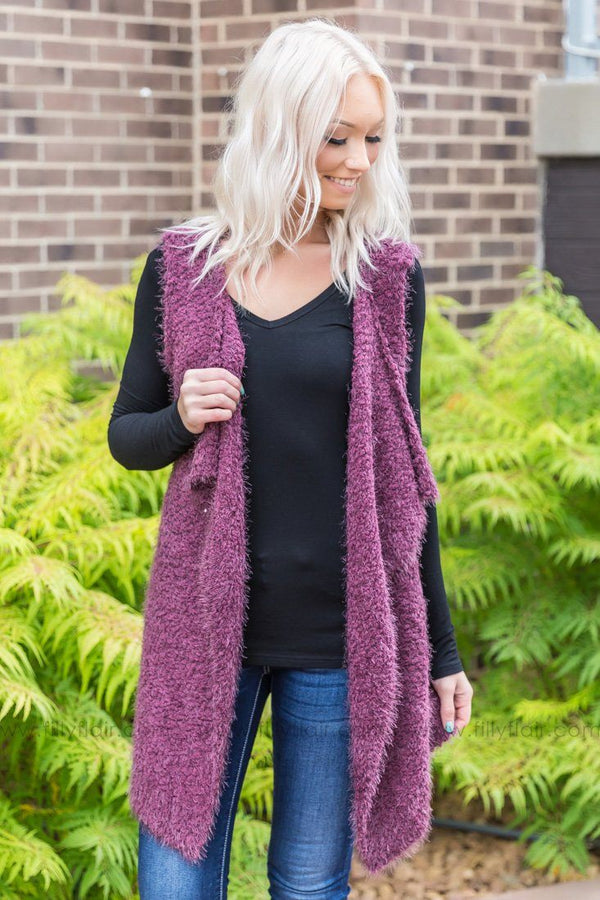 Fall For You Popcorn Waterfall Vest In Eggplant - Filly Flair