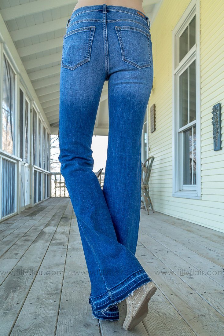 Sarah Sneak Peek Medium Wash Medium Rise Flare Jeans - Filly Flair