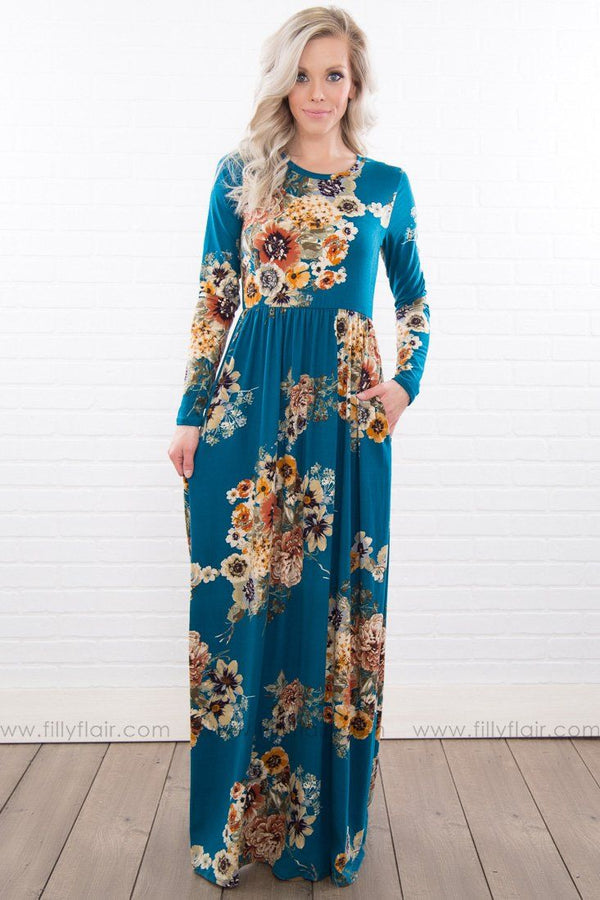 Consider Me Gone Floral Long Sleeve Maxi Dress in Teal