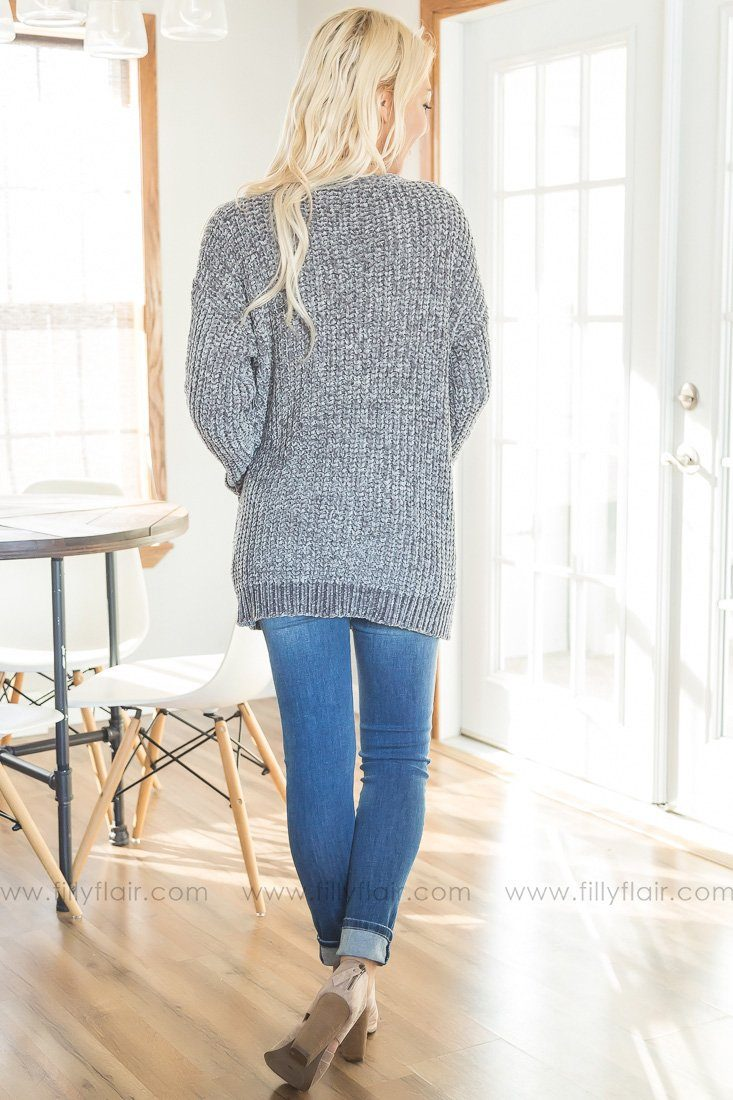 Beside You Long Sleeve Sweater Cardigan In Grey