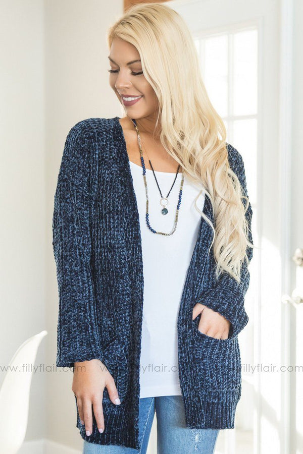 Beside You Long Sleeve Sweater Cardigan In Navy