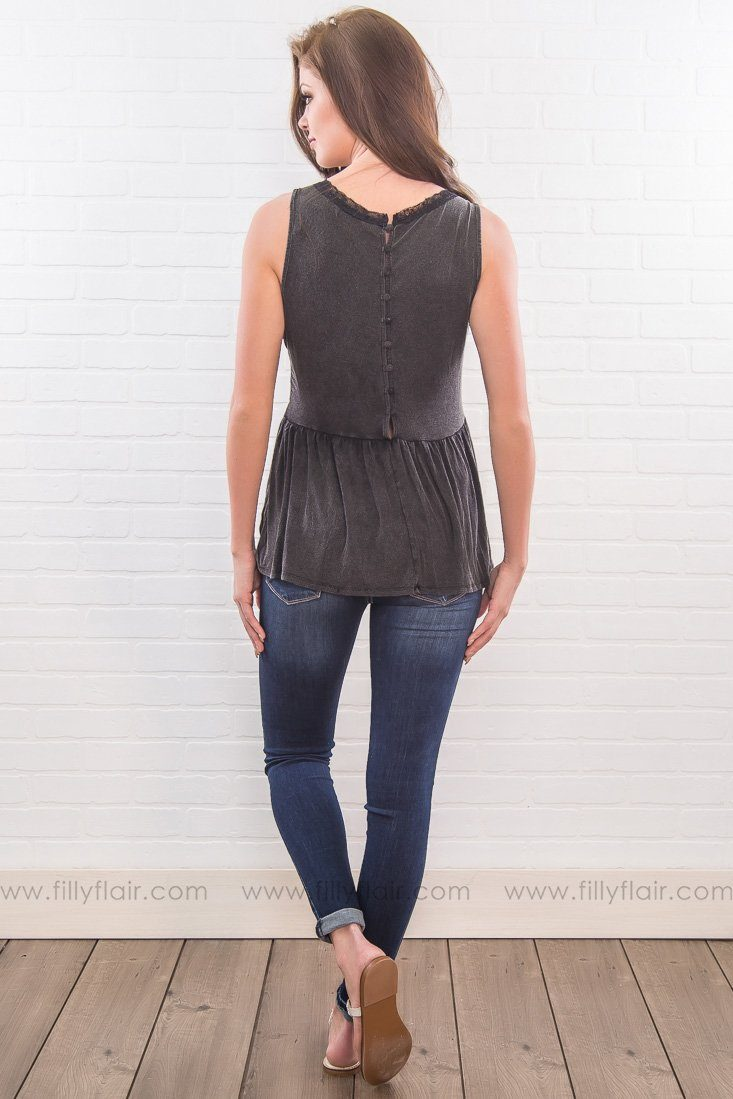 Open Door V-Neck Lace Tank Top In Deep Charcoal