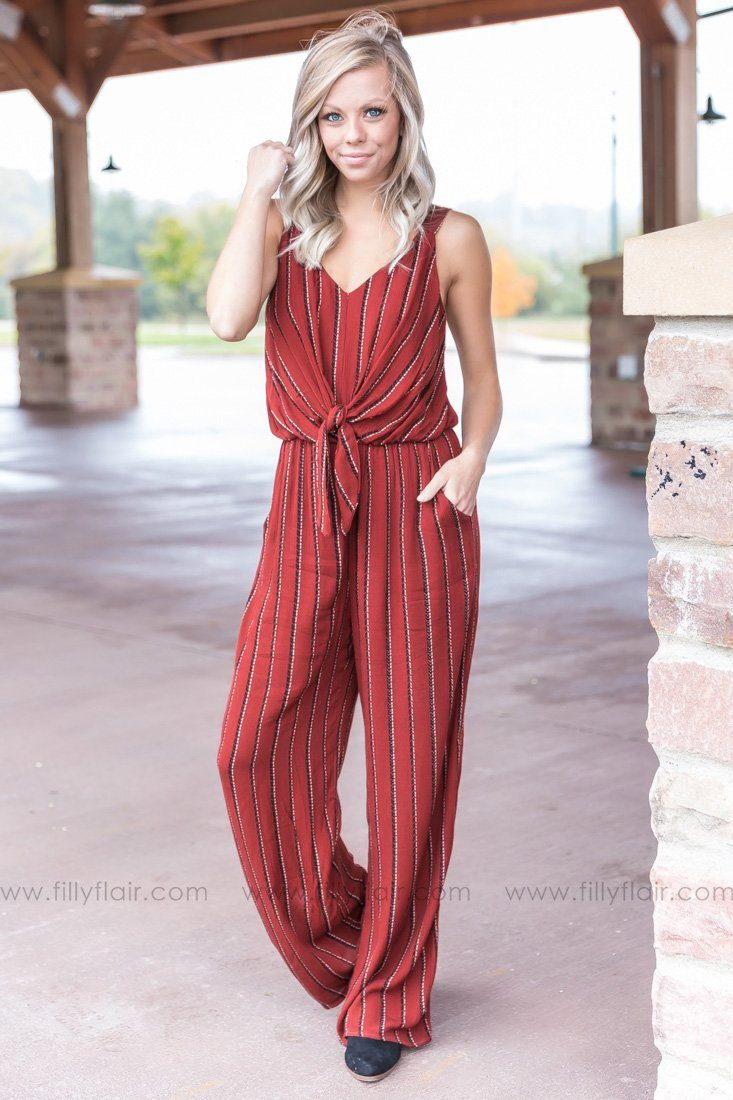 Let Me Go Striped Jumpsuit in Rust - Filly Flair