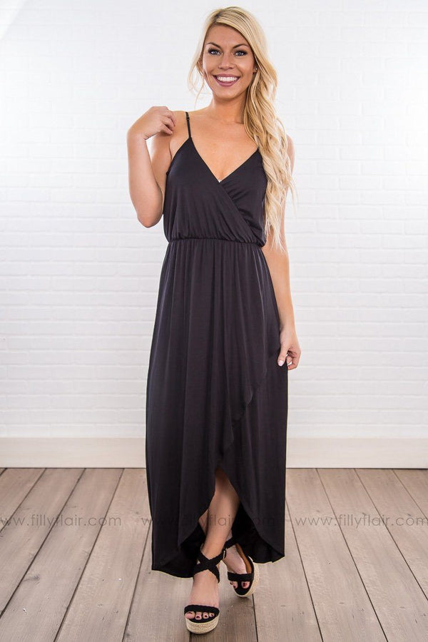Wish You Would Spaghetti Strap Hi Low Maxi Dress In Black