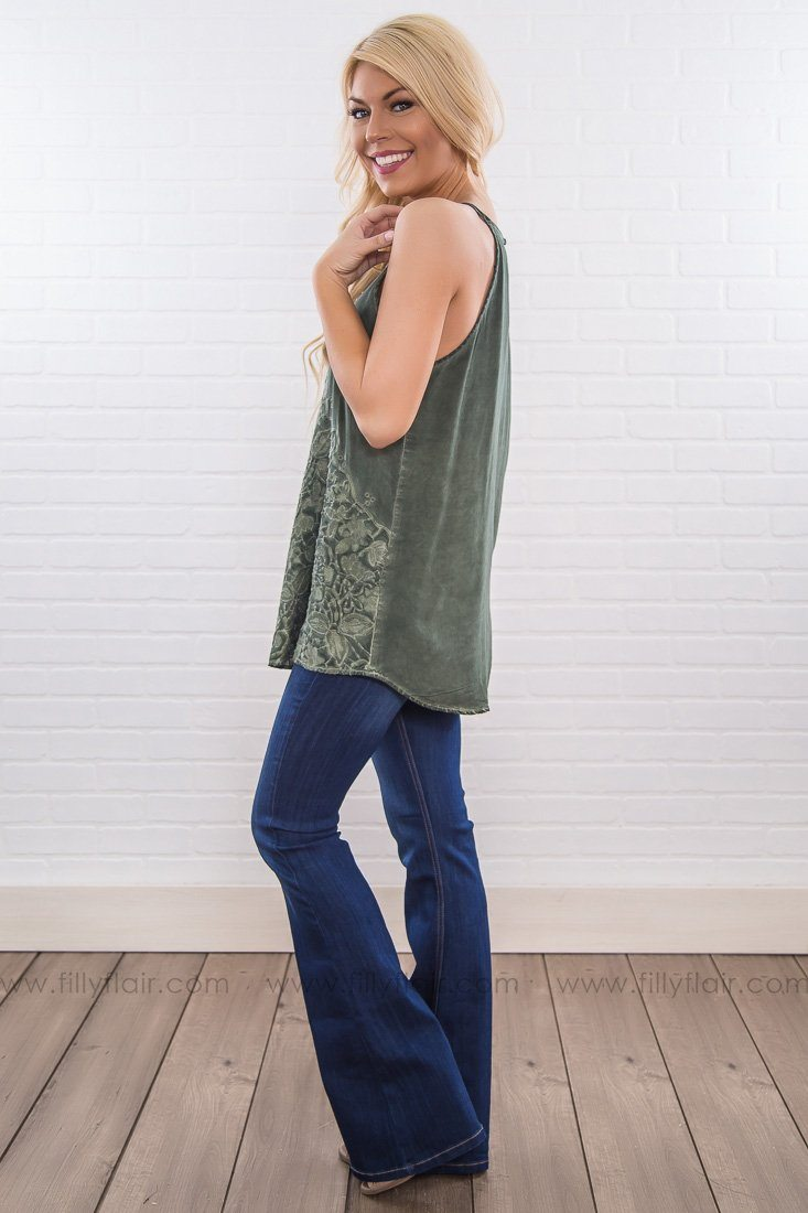 Lovely Ways Lace Detail Tank Top In Pine - Filly Flair