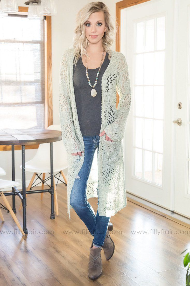 Live For Love Long Pocket Cardigan In Sage