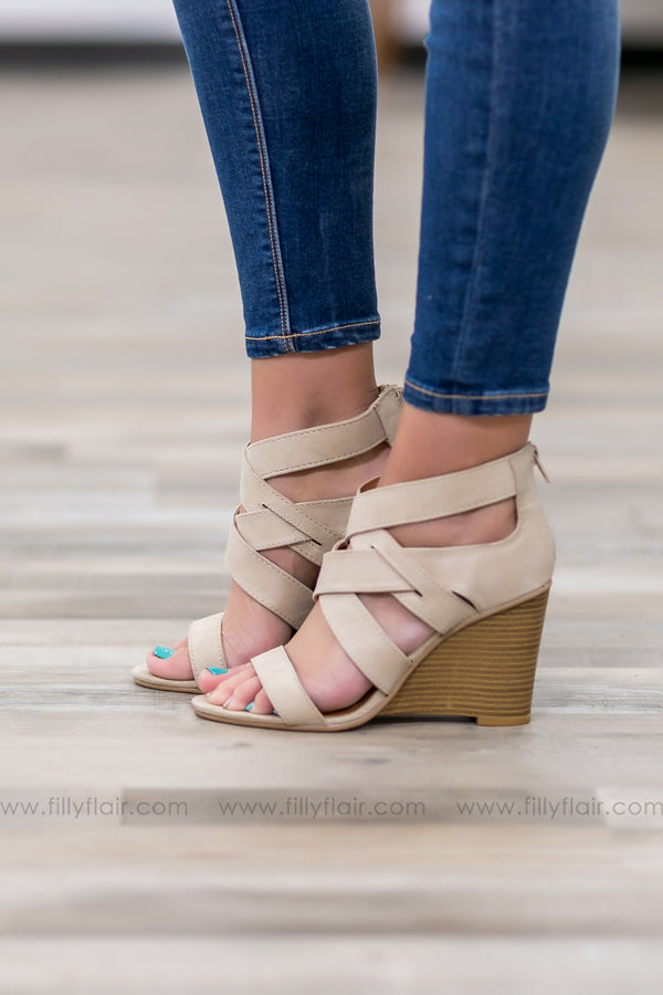 Brody Strappy Wedge in Beige - Filly Flair