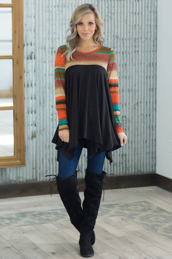 What You've Got Long Sleeve Waterfall Top In Black - Filly Flair