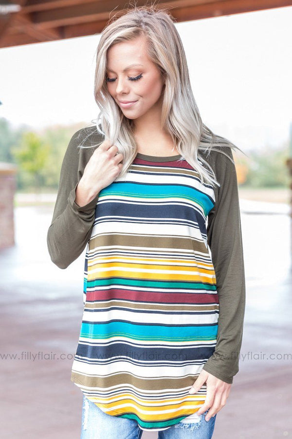 The Way I Do Multi Color Stripe Top in Olive - Filly Flair