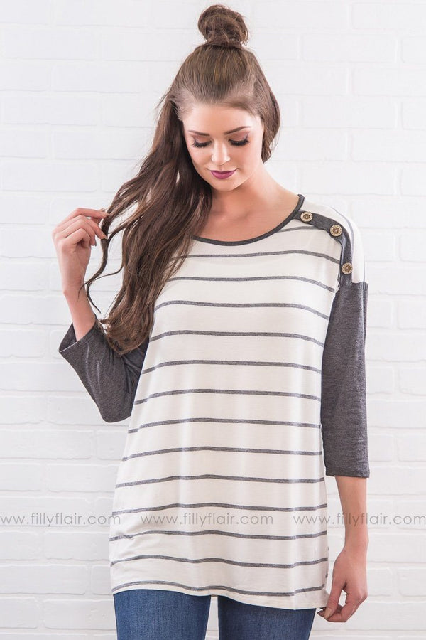Another Place In Time Striped Button Top In Charcoal