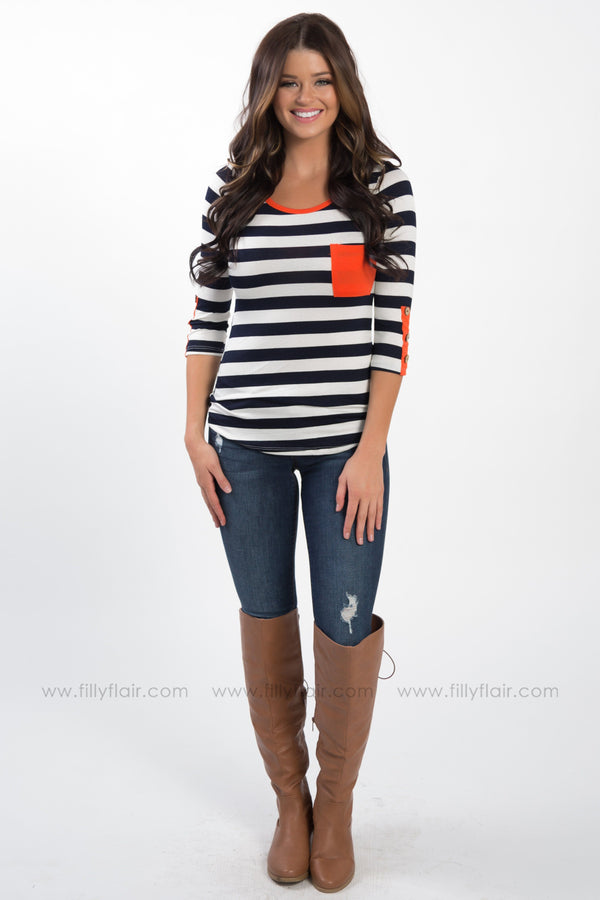 * Love Like Crazy 3/4 Button Sleeve Striped Top In Navy Orange - Filly Flair
