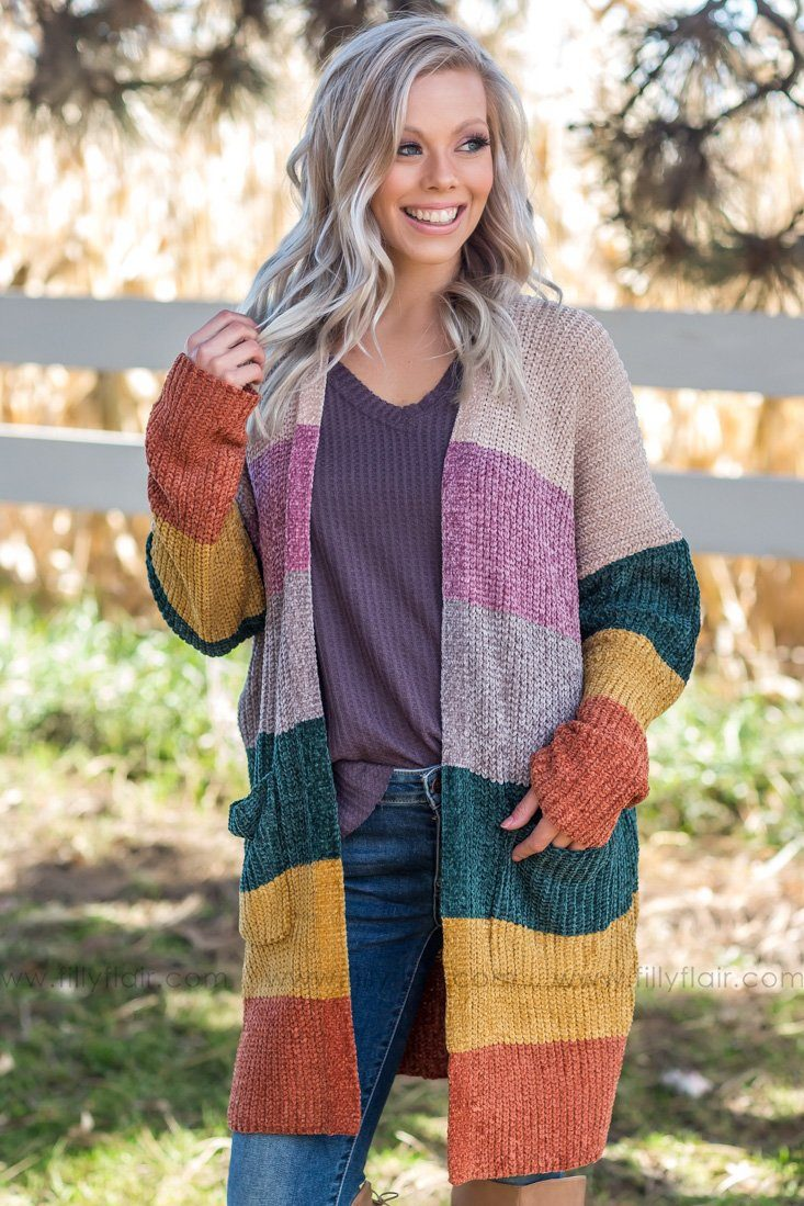 So Sweet Long Multi-Color Block Cardigan - Filly Flair