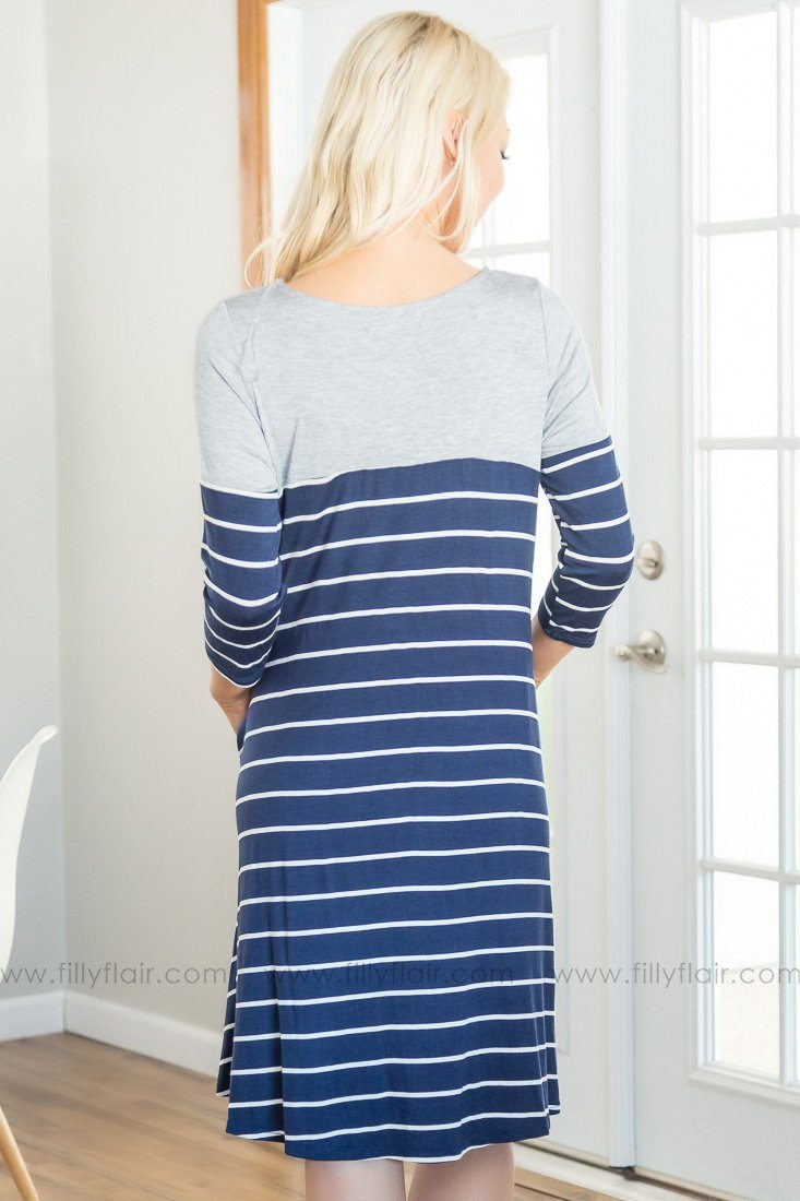 Can't Go Back Striped Dress In Navy