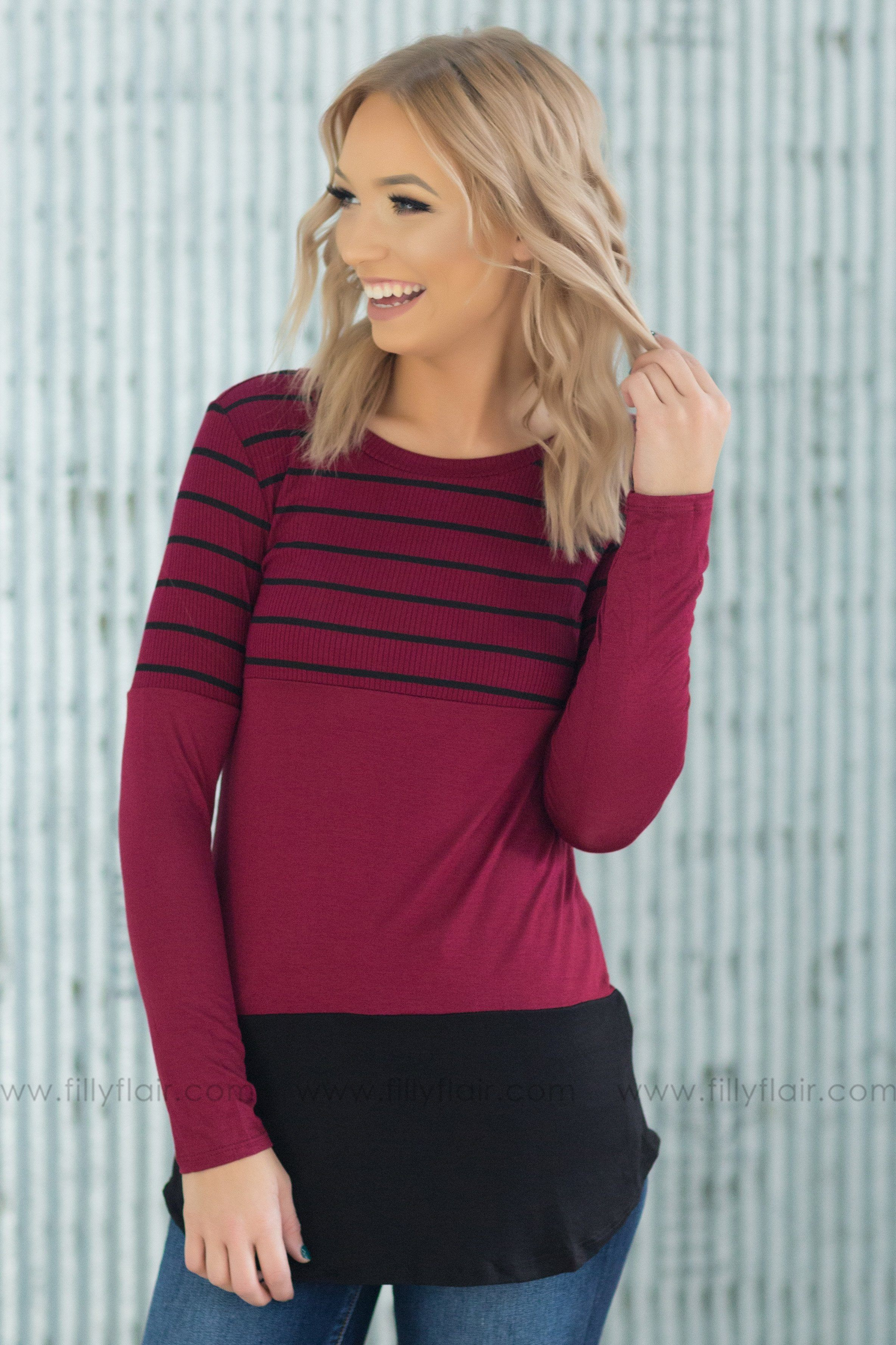 Some Time Ago Striped Color Block Lace Back Top in Burgundy - Filly Flair