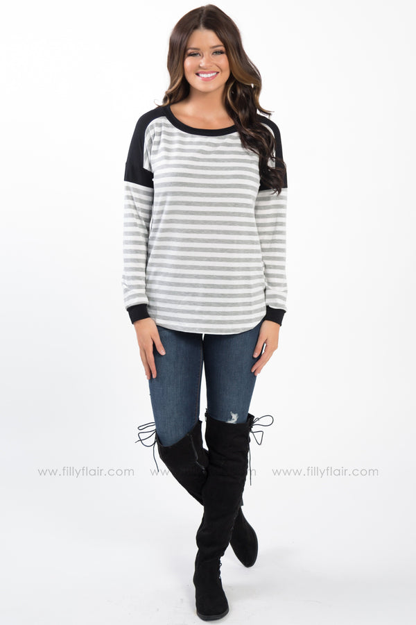Cross That Line Striped Color Block Shoulder Top In Grey Black - Filly Flair