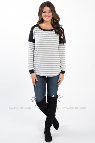 All Together Long Sleeve Elbow Patch Top In Blue