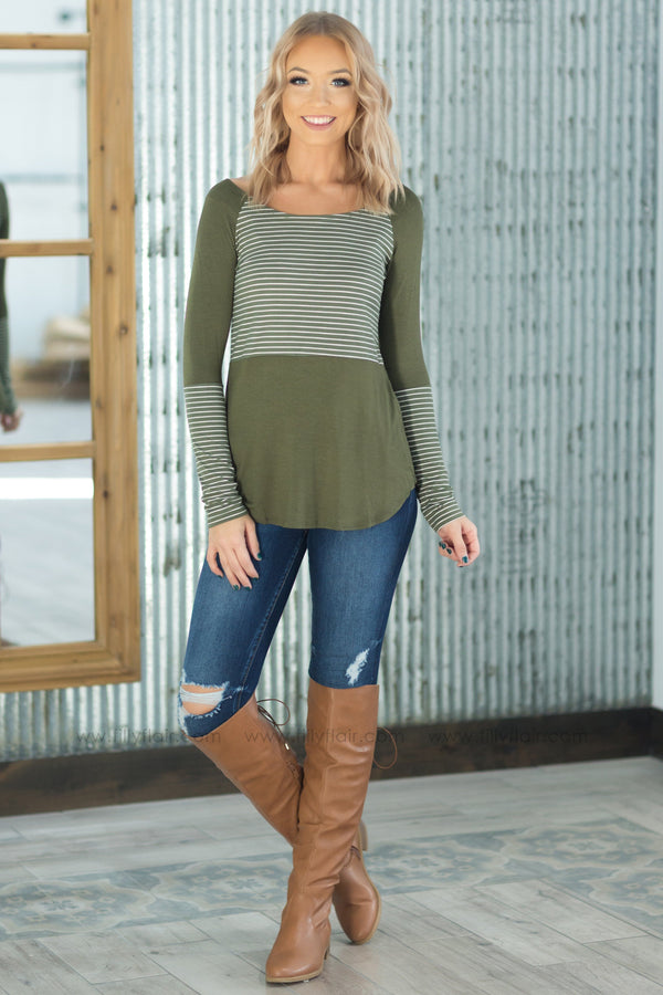 *These Days White Striped Color Block Long Sleeve Top in Olive - Filly Flair