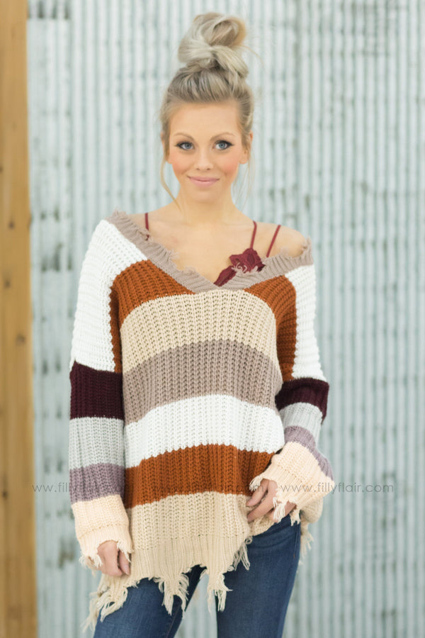 Every Girl's Dream Striped V-Neck Sweater in Mocha Rust White - Filly Flair