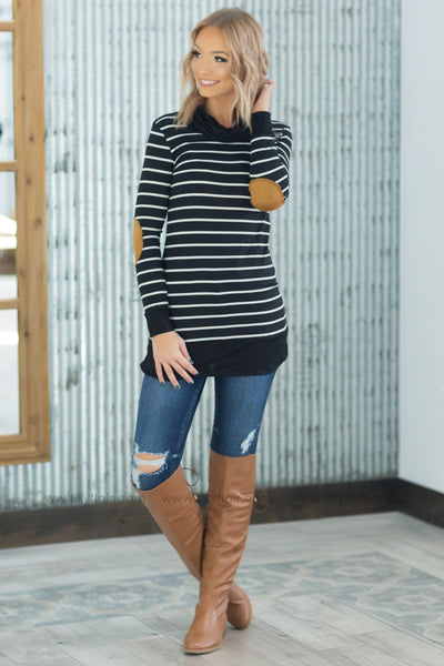 Too Far Gone Long Sleeve Cowl Neck Striped Tunic in Black - Filly Flair