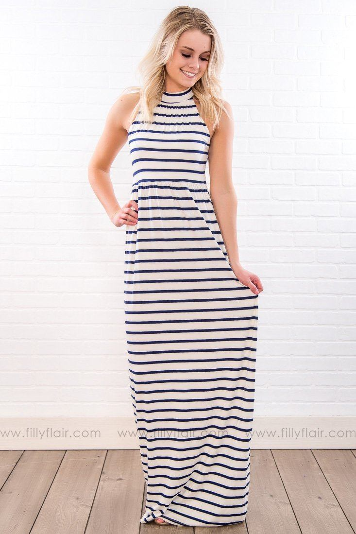 Even Flow Striped Sleeveless Maxi Dress In Navy White