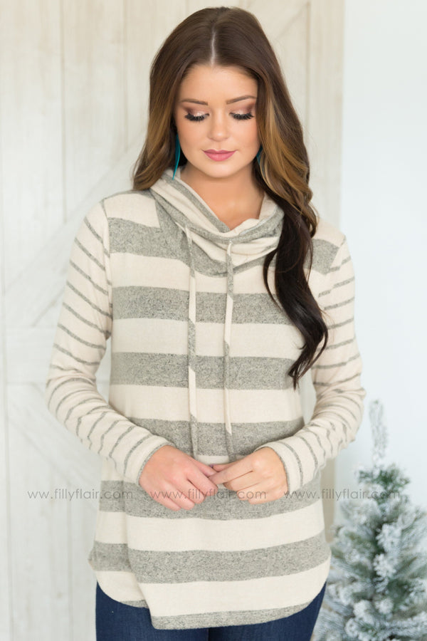 Easy Going Striped Cowl Neck Top In Grey Taupe - Filly Flair
