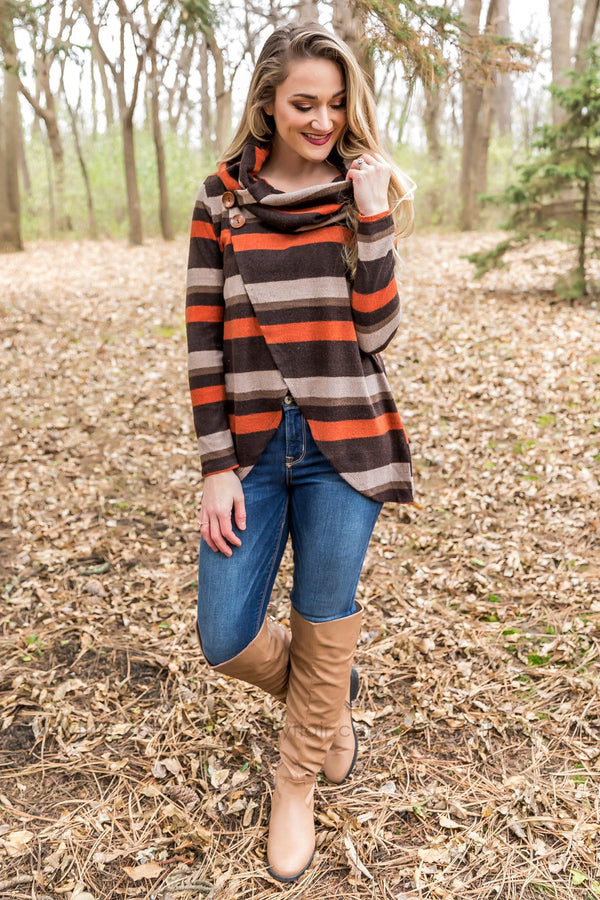 Take Time Long Sleeve Cowl Neck Button Detail Sweater In Brown - Filly Flair