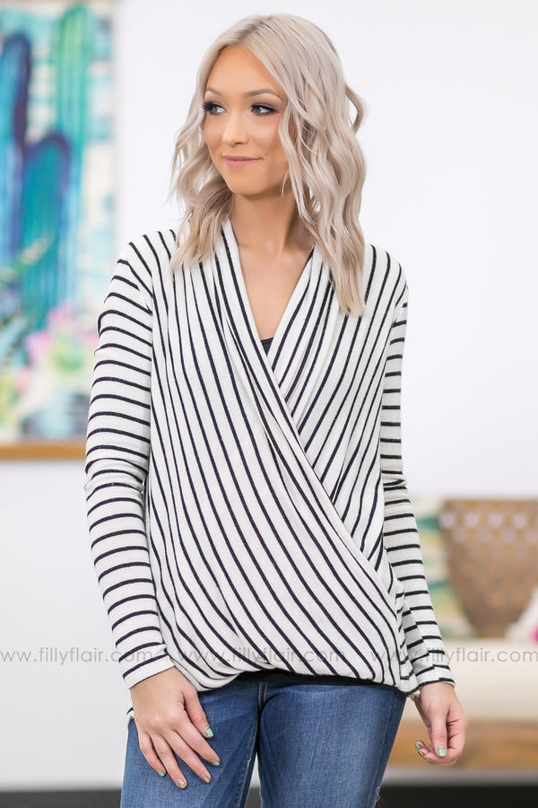Find A New Way Long Sleeve Black Striped Front Twist Top in White - Filly Flair
