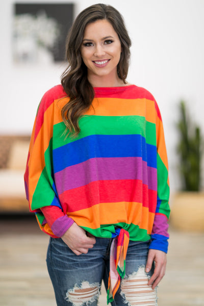 Bright Future Multi-Colored Dolman Tie Top - Filly Flair