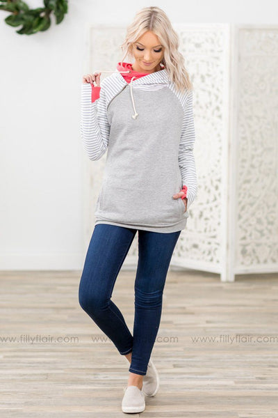 You're Worth It Long Striped Sleeve Coral Double Hoodie in Grey - Filly Flair