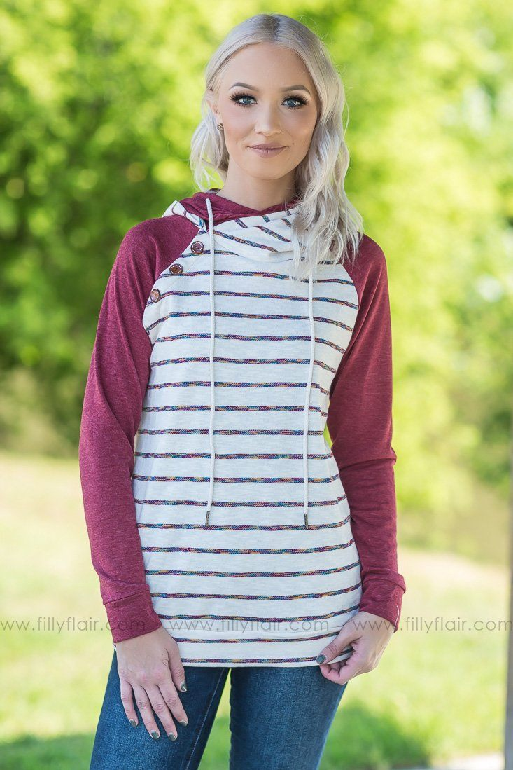Take Some Time Striped Double Hoodie In Burgundy - Filly Flair
