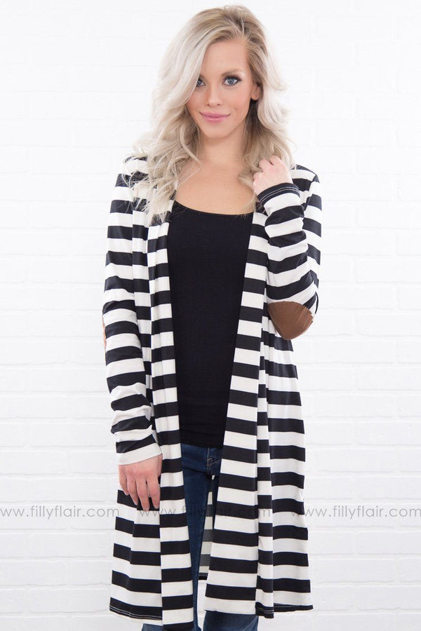Wish For You Striped Elbow Patch Cardigan In Black White