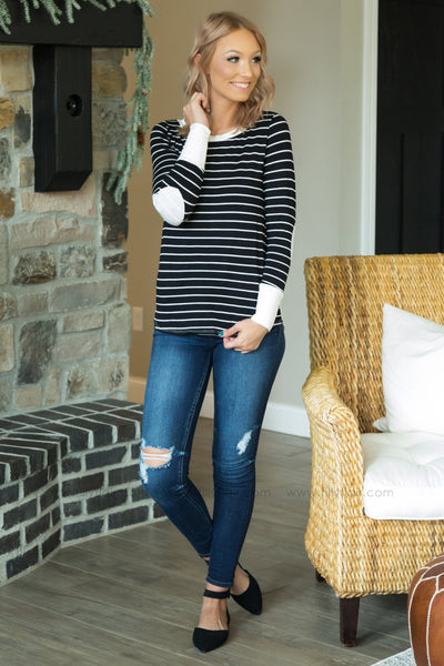 Taking Chances Long Sleeve Striped Elbow Patch Top In Black White - Filly Flair